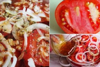 Самая лучшая закуска к шашлыку за 5 минут: пряные помидоры с луком 1